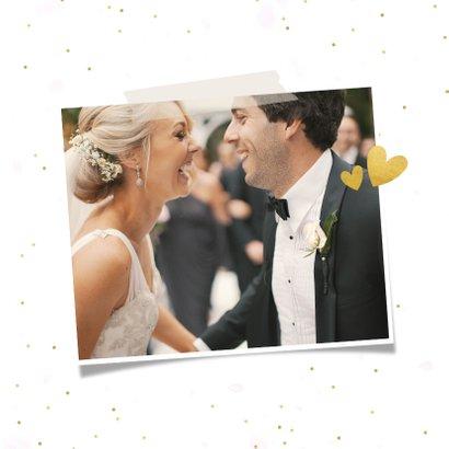 Vierkante fotocollage bedankkaart huwelijk met 8 foto's 2