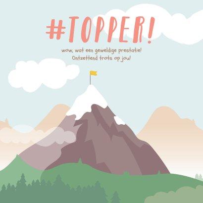 Vierkante kaart met getekende berg met een vlag erop #topper 2