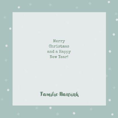 Vierkante kerstkaart met fotocollage en sneeuwvlokjes 3