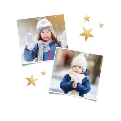 Vierkante kerstkaart met fotocollage met 6 foto's en goud 2
