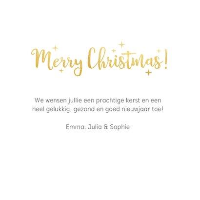 Vierkante kerstkaart met fotocollage met 6 foto's en goud 3