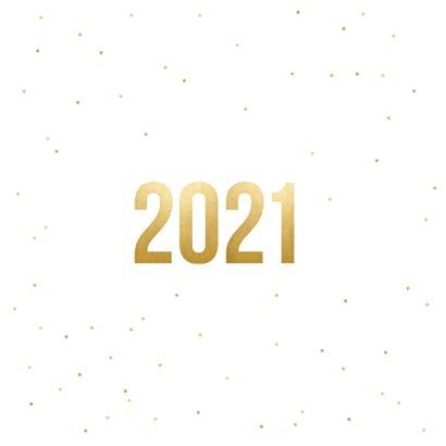 Vierkante nieuwjaarskaart fotocollage met terugblik op 2020 Achterkant