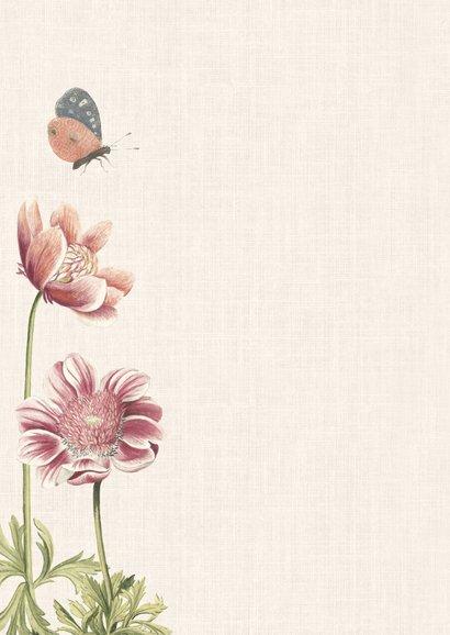 Vintage geboortekaartje voor een meisje met anemonen 2