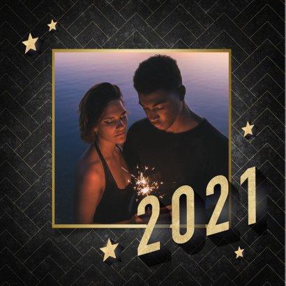 Vintage nieuwjaarskaart 3d 2021 sterren en patroon 2