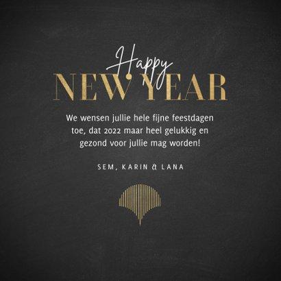 Vintage nieuwjaarskaart met goudlook patroon Happy New Year 3