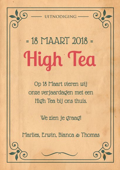 Vintage poster High Tea 1LS3 3