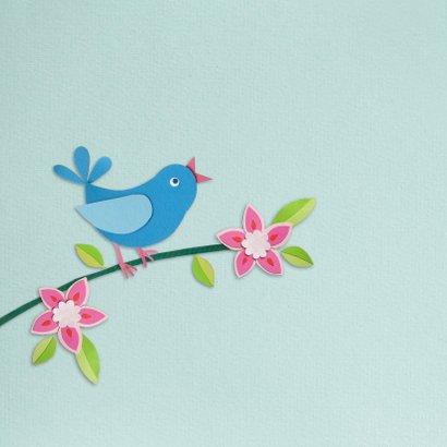 Vogel en bloemen geboortekaartje mint 2