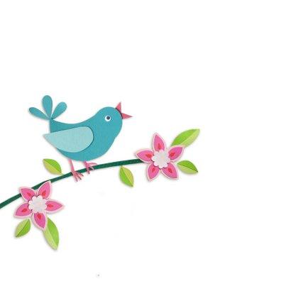 Vogel en bloemen geboortekaartje 2