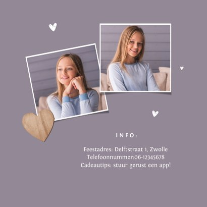 Vormsel uitnodigingskaart meisje houten hartjes foto 2