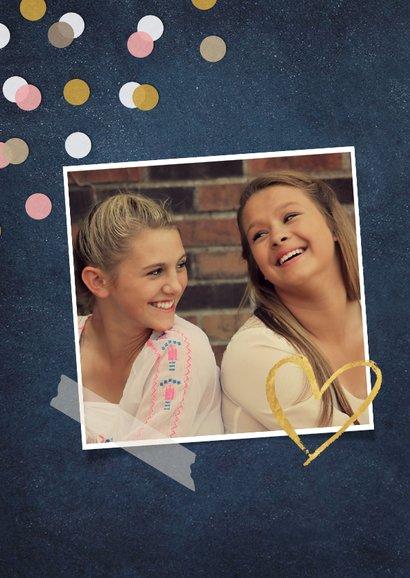 Vriendschapskaart een dikke kus voor mijn zus met confetti 2