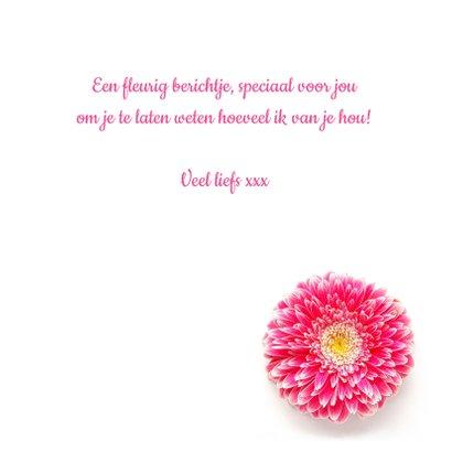 Vriendschapskaart roze bloem en groene edelstenen 3