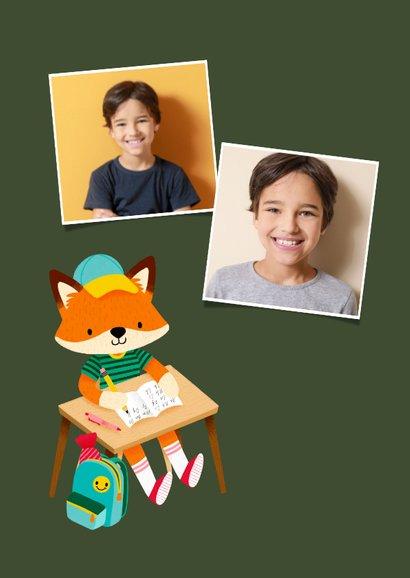 Vrolijk bedankkaart juf vosje met pennen, rugzak en foto 2