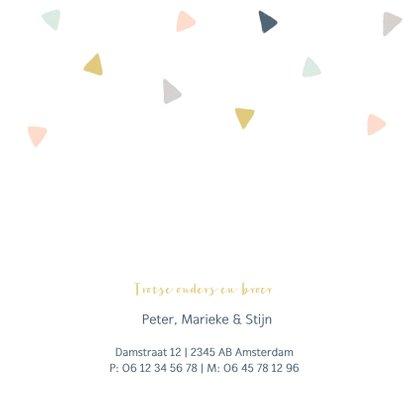 Vrolijk geboortekaartje met gekleurde driehoekjes 2