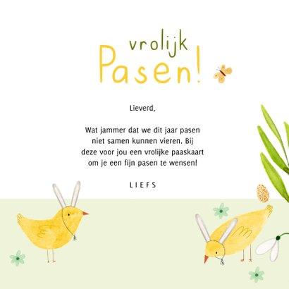 Vrolijk paaskaartje eieren kuiken konijn bloemen groen geel 3