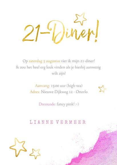 Vrolijke 21-diner uitnodiging met waterverf en goud en foto 3