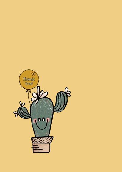 Vrolijke bedankkaart met cactus in pot en lichtblauwe ballon 2