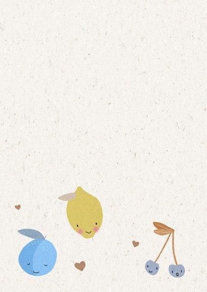 Vrolijke beterschapskaart voor een jongen met fruit 2
