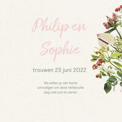 Vrolijke bloemrijke trouwkaart 3