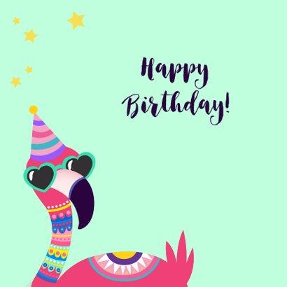 Vrolijke en grappige verjaardagskaart met flamingo met bril 2