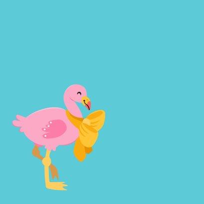 Vrolijke en kleurrijke dierenkaart met baby flamingo 2