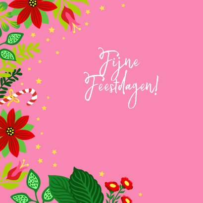 Vrolijke en kleurrijke kerstkaart met kat en bloemen 2
