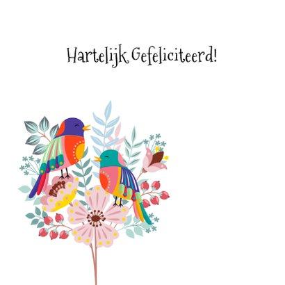 Vrolijke en kleurrijke verjaardagskaart met bloemen en vogel 2