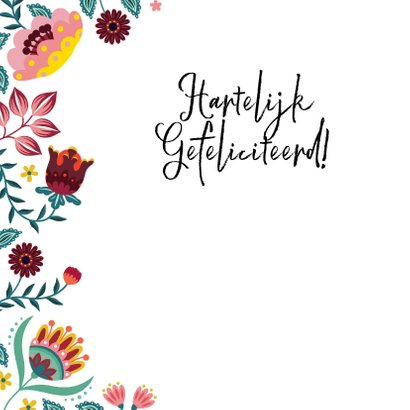 Vrolijke en kleurrijke verjaardagskaart met bloemen 2