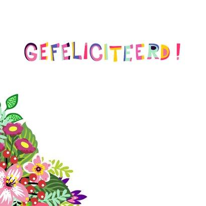 Vrolijke en kleurrijke verjaardagskaart met kat en bloemen 2
