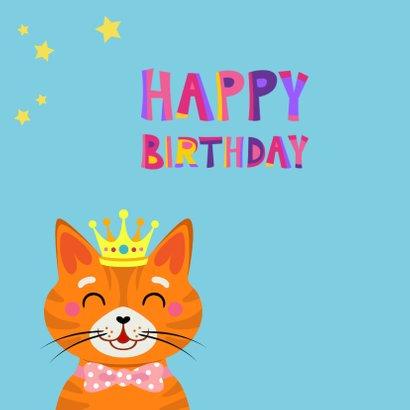 Vrolijke en kleurrijke verjaardagskaart met kat met kroon 2