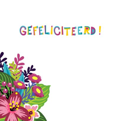 Vrolijke en kleurrijke verjaardagskaart met lama en bloemen 2