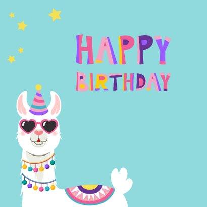Vrolijke en kleurrijke verjaardagskaart met lama met bril 2