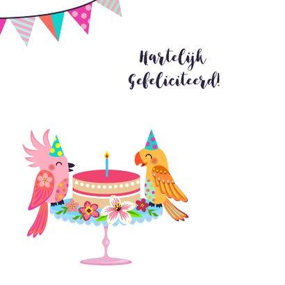 Vrolijke en kleurrijke verjaardagskaart met vogels en taart 2