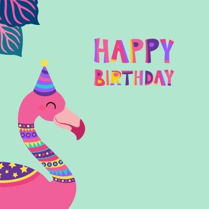 Vrolijke felicitatiekaart met kleurrijke flamingo 2