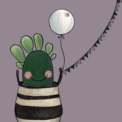 Vrolijke felicitatiekaart zwangerschap met cactussen en baby 2