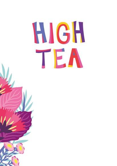 Vrolijke high tea uitnodiging met flamingo, taart en bloemen 2