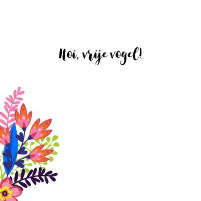 Vrolijke kaart met papegaai en bloemen 2