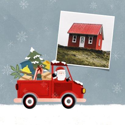 Vrolijke kerst verhuiskaart pickup truck kerstman en sneeuw 2