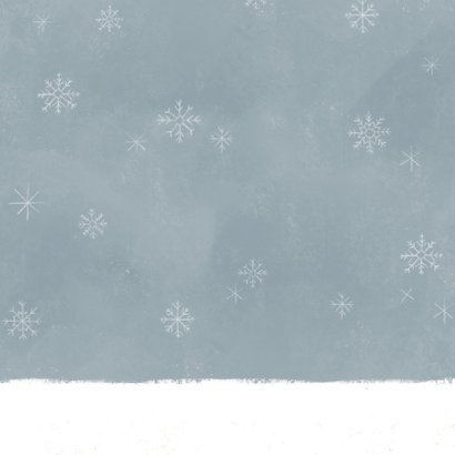 Vrolijke kerst verhuiskaart pickup truck kerstman en sneeuw Achterkant