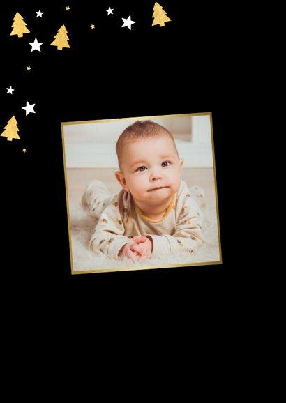 Vrolijke kerstkaart grote foto, kerstbomen & Merry Christmas 2