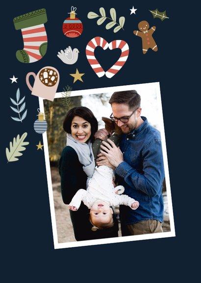 Vrolijke kerstkaart met kerst illustraties 2