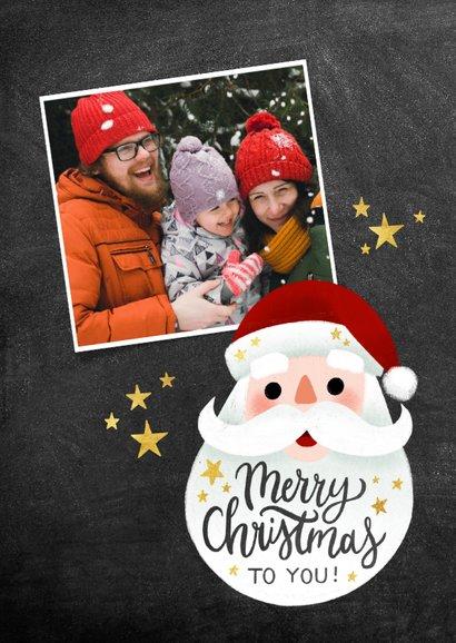 Vrolijke kerstkaart met kerstman, Merry Christmas en sterren 2