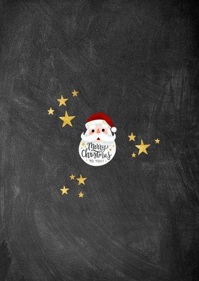 Vrolijke kerstkaart met kerstman, Merry Christmas en sterren Achterkant
