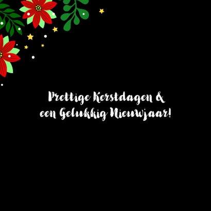 Vrolijke kerstkaart met kleurrijke pauw en kerststerren 2