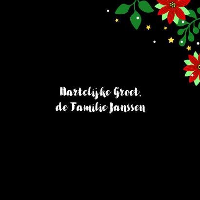 Vrolijke kerstkaart met kleurrijke pauw en kerststerren 3