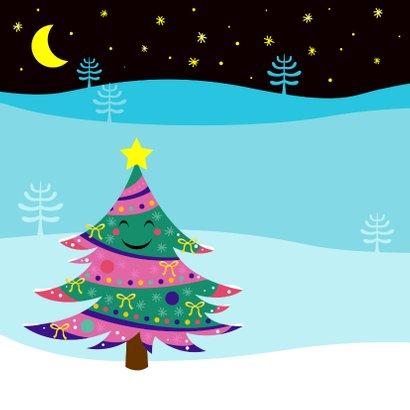 Vrolijke kerstkaart met lachende kerstboom 2