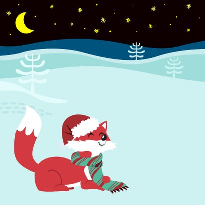 Vrolijke kerstkaart met lief vosje en sterren 2