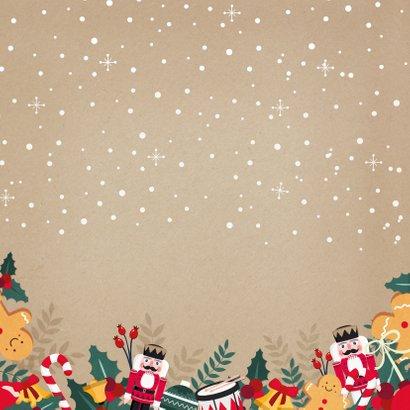 Vrolijke kerstkaart met notenkraker, hulst en eigen foto's Achterkant