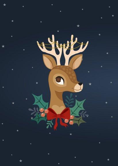 Vrolijke kerstkaart met rendier en versiering 2