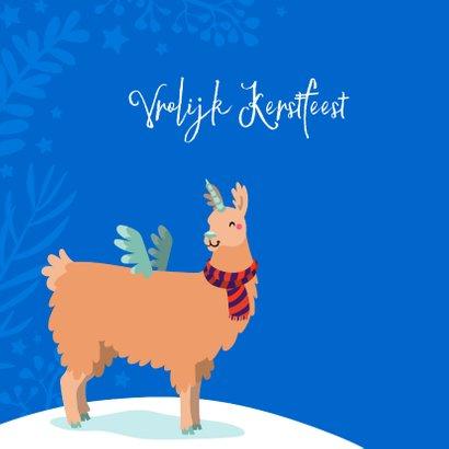 Vrolijke kerstkaart met unicorn lama 2
