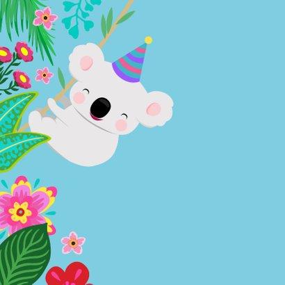 Vrolijke koala en planten kleurrijke verjaardagskaart  2